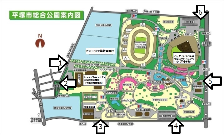 平塚市総合公園案内図_駐車場